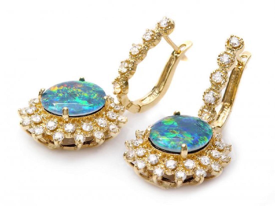 14k Gold 4.50ct Triplet Opal 2ct Diamond Earrings - 2