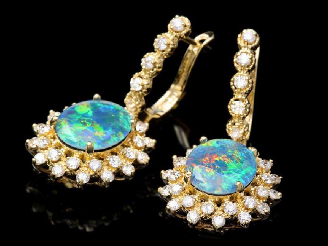 14k Gold 4.50ct Triplet Opal 2ct Diamond Earrings - 3
