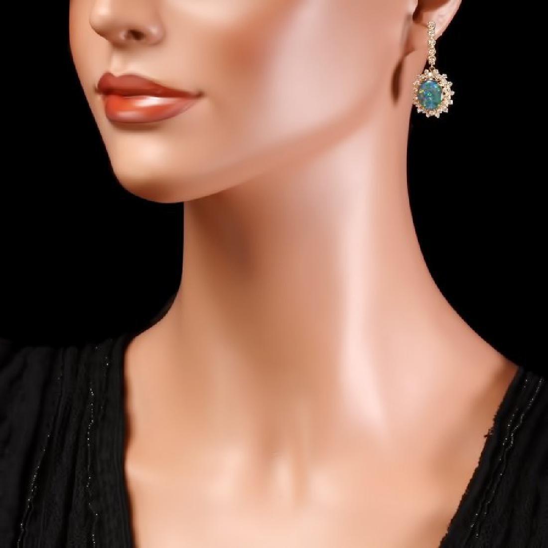 14k Gold 4.50ct Triplet Opal 2ct Diamond Earrings - 4