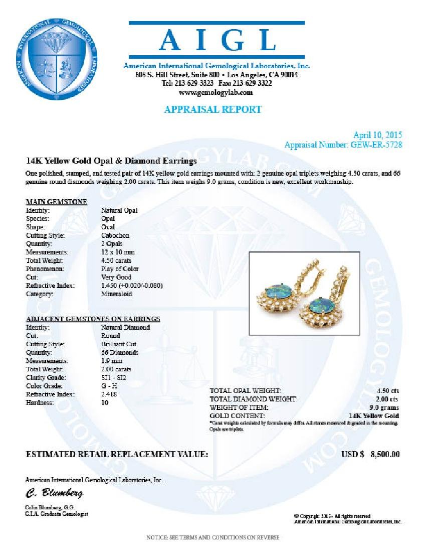 14k Gold 4.50ct Triplet Opal 2ct Diamond Earrings - 5