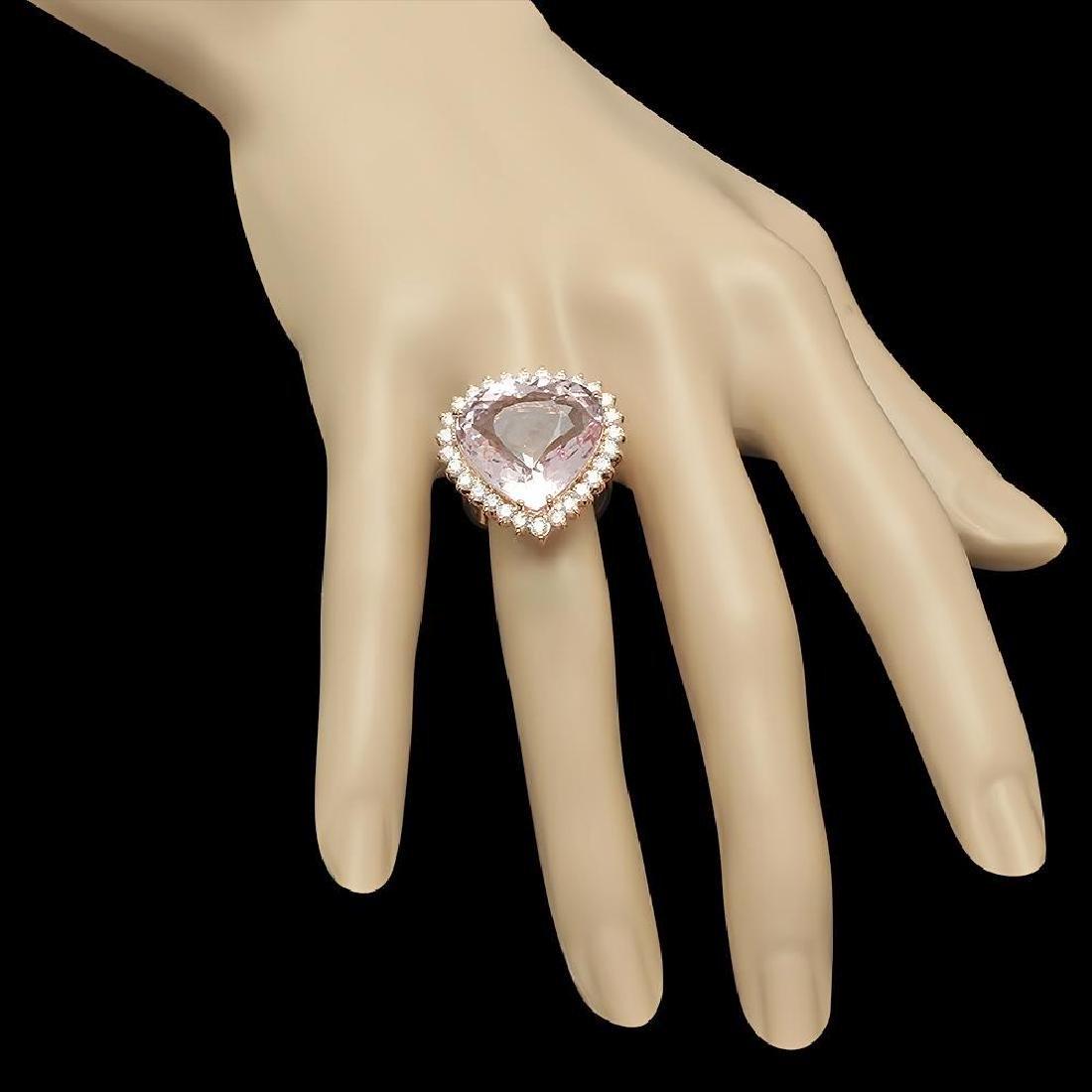 14K Gold 17.17ct Kunzite 1.21ct Diamond Ring - 3