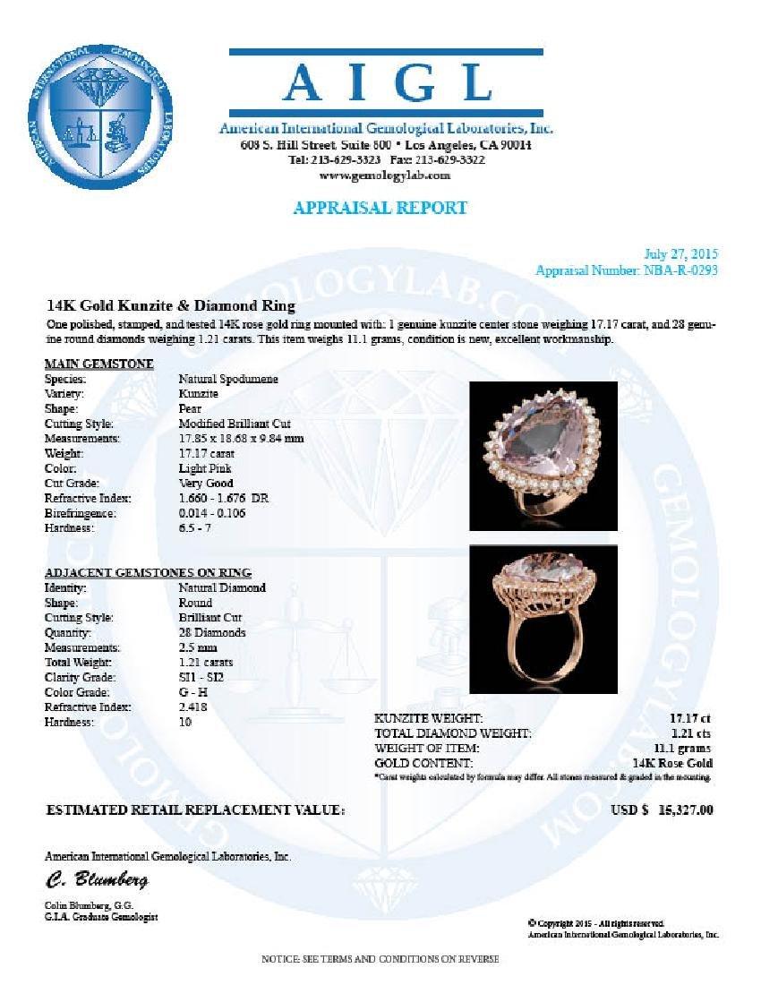 14K Gold 17.17ct Kunzite 1.21ct Diamond Ring - 5