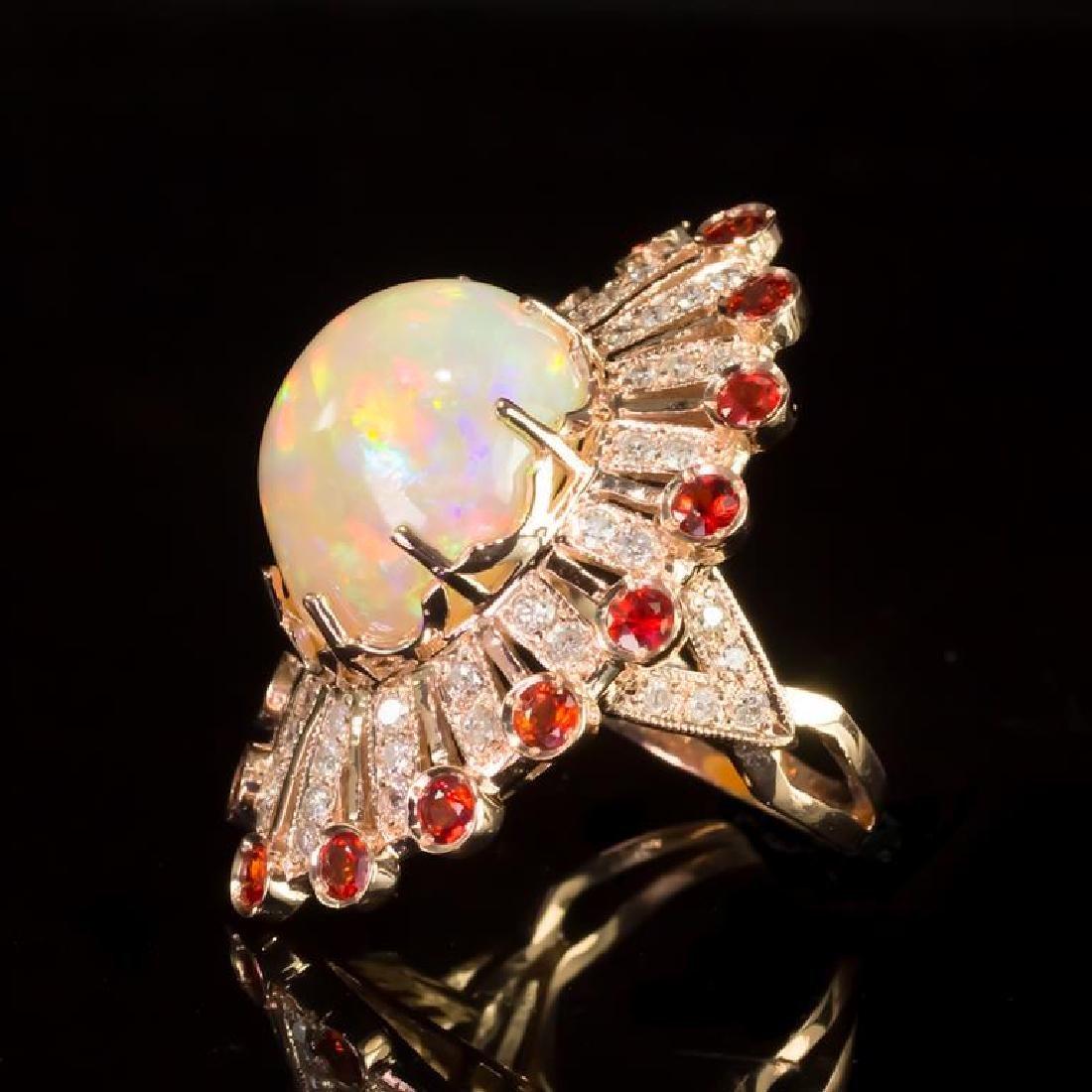 14K Gold 13.28ct Opal, 1.28ct Orange Sapphire 1.10ct - 2