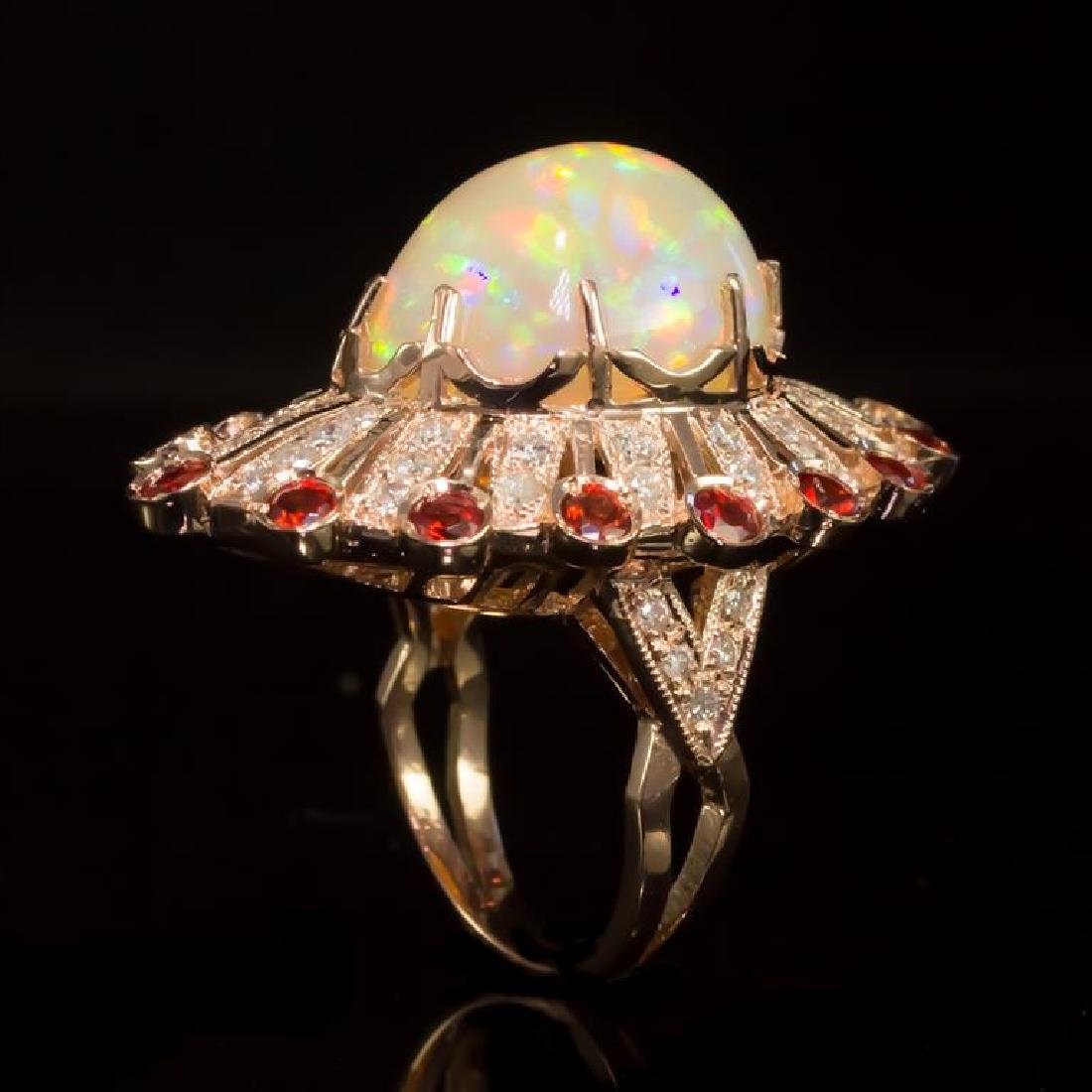 14K Gold 13.28ct Opal, 1.28ct Orange Sapphire 1.10ct - 3