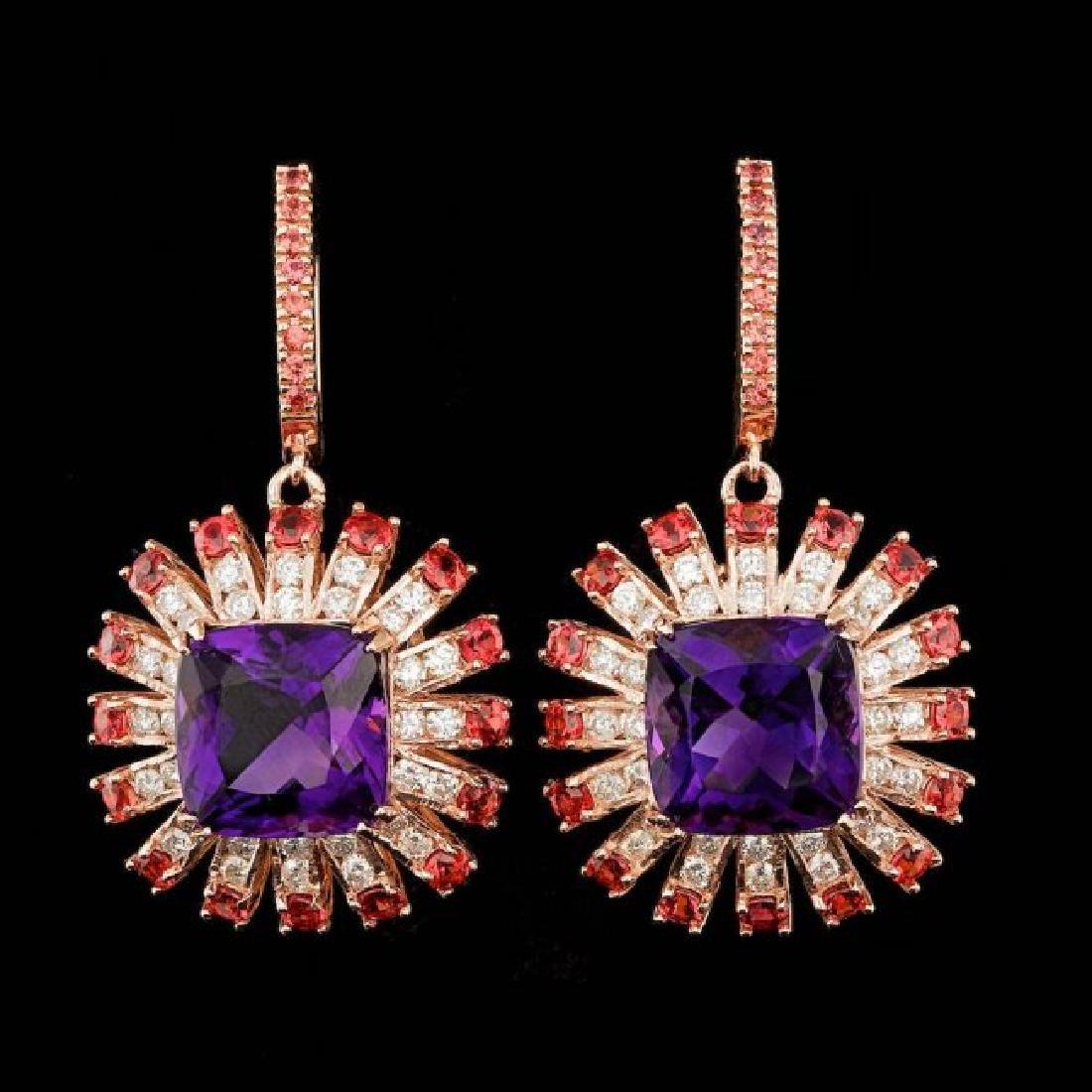 14k Rose 19.00ct Amethyst 2.00ct Diamond Earrings