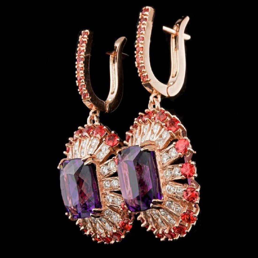 14k Rose 19.00ct Amethyst 2.00ct Diamond Earrings - 2
