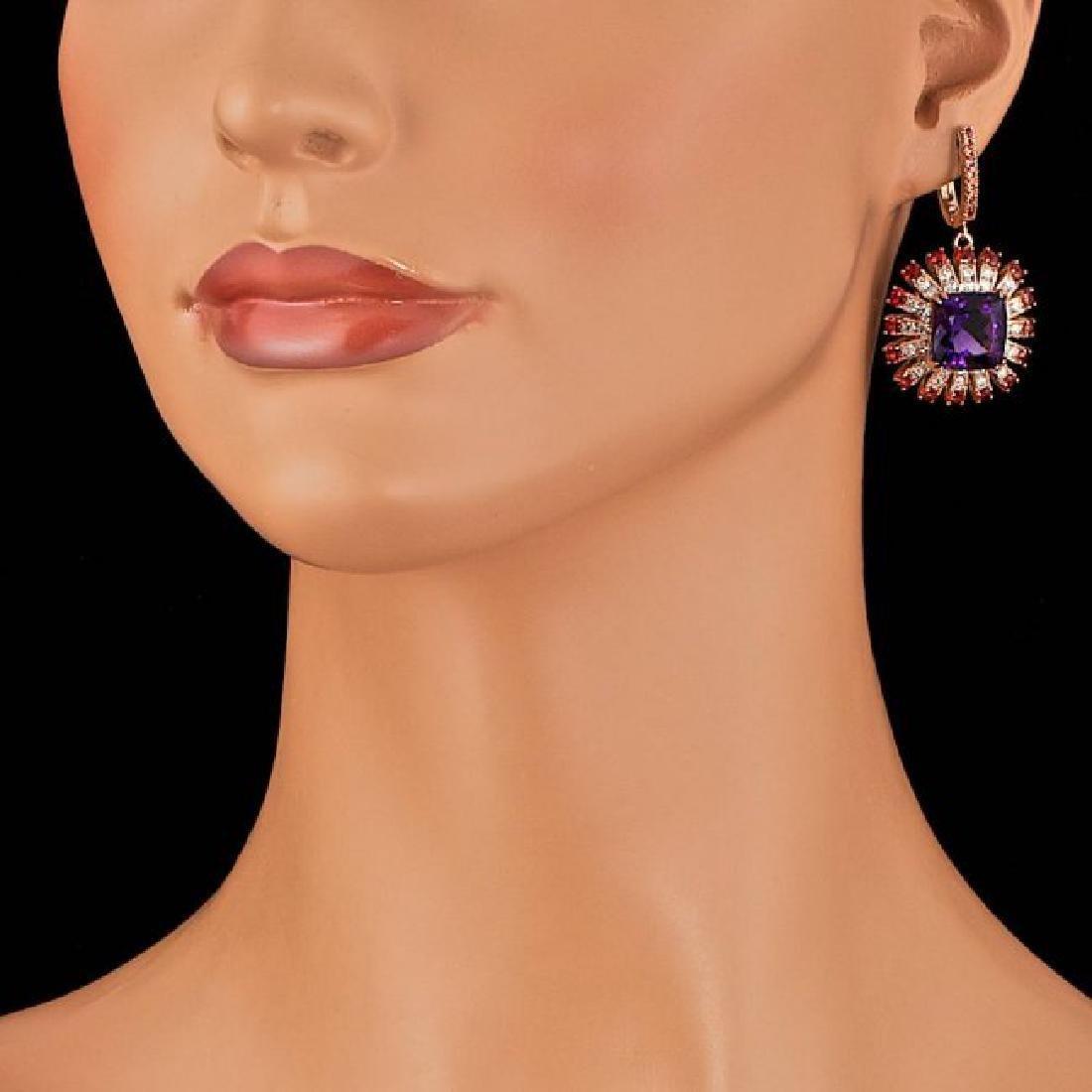 14k Rose 19.00ct Amethyst 2.00ct Diamond Earrings - 3