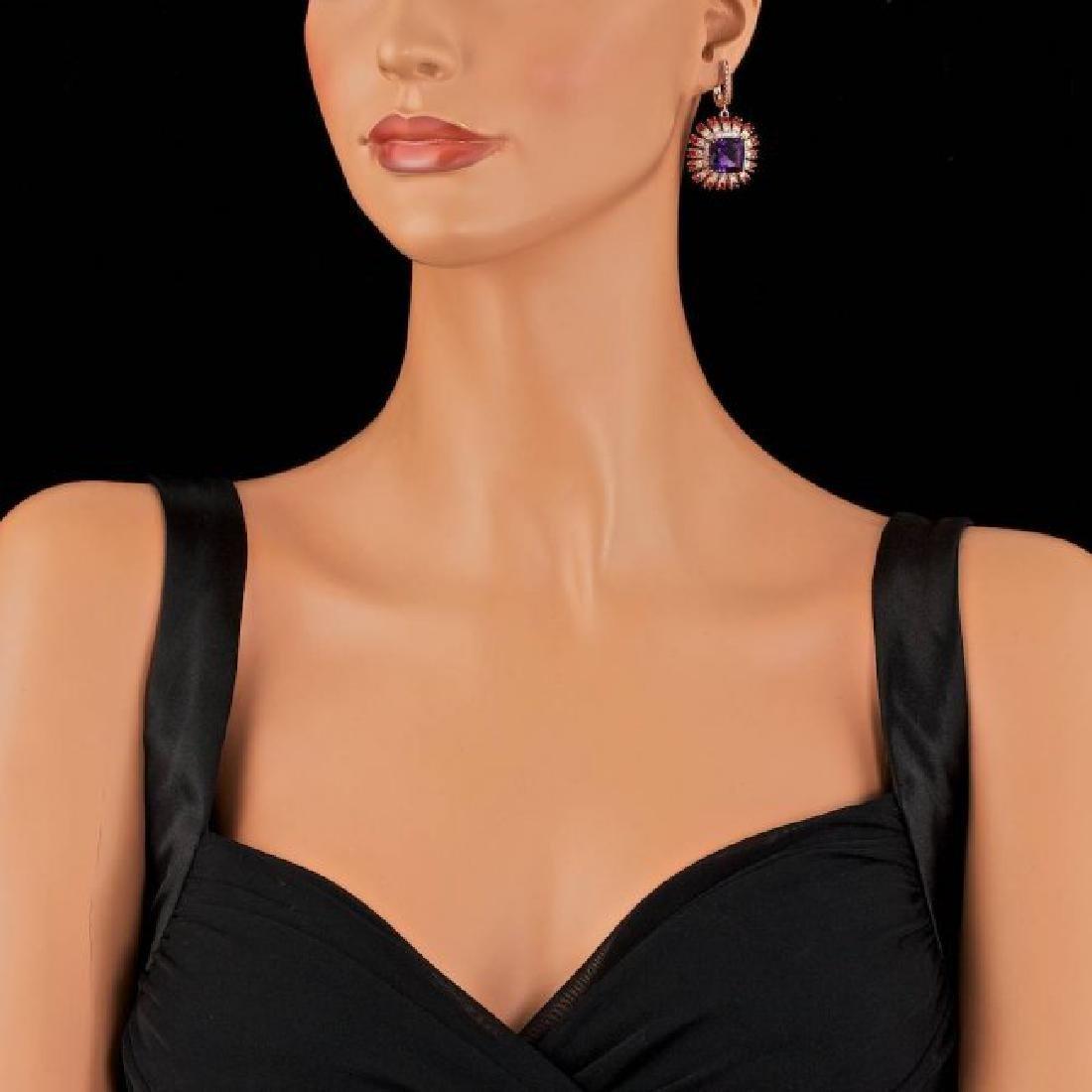 14k Rose 19.00ct Amethyst 2.00ct Diamond Earrings - 4