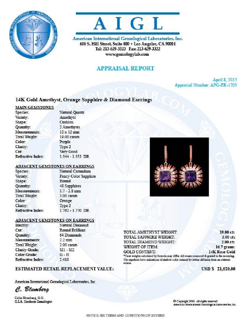 14k Rose 19.00ct Amethyst 2.00ct Diamond Earrings - 5