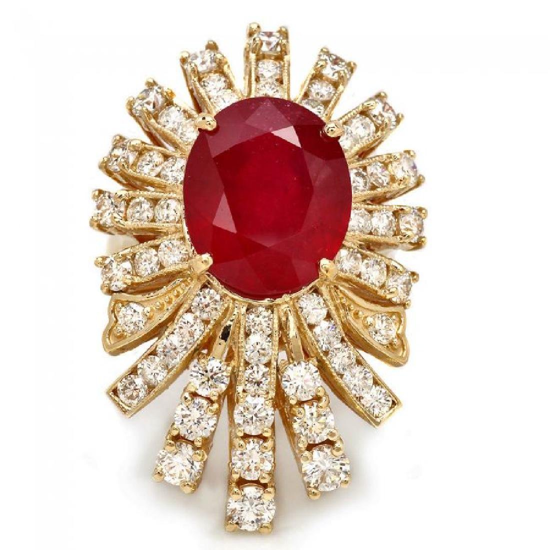 14k Yellow Gold 8.50ct Ruby 2.75ct Diamond Ring - 2