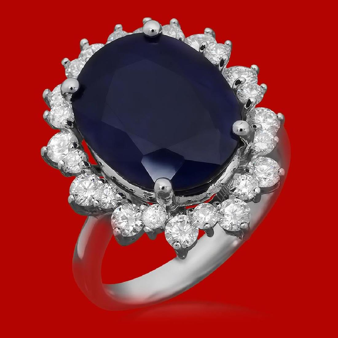 14k Gold 10.57ct Sapphire 1.77ct Diamond Ring