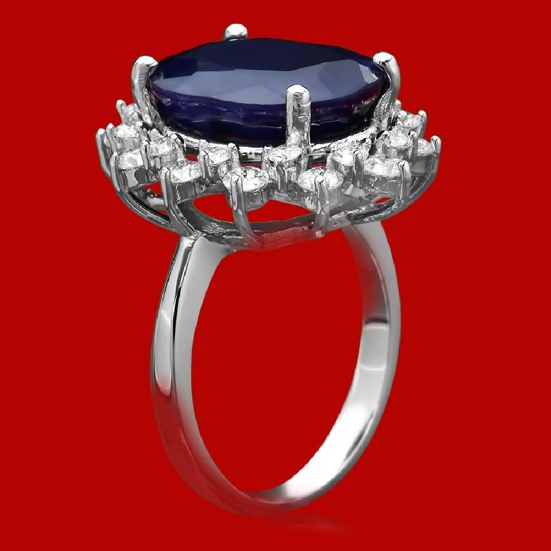 14k Gold 10.57ct Sapphire 1.77ct Diamond Ring - 2