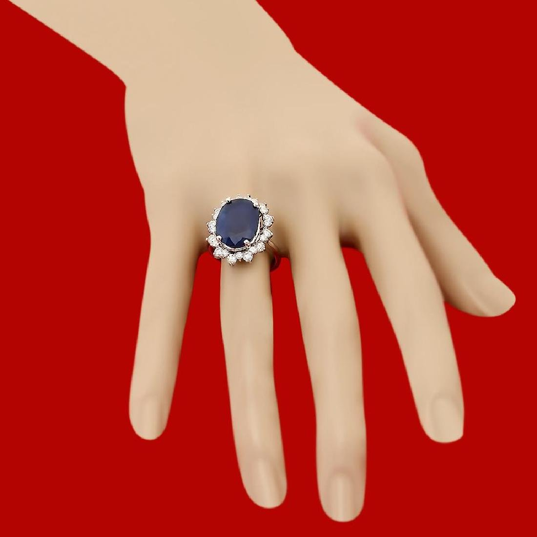14k Gold 10.57ct Sapphire 1.77ct Diamond Ring - 3