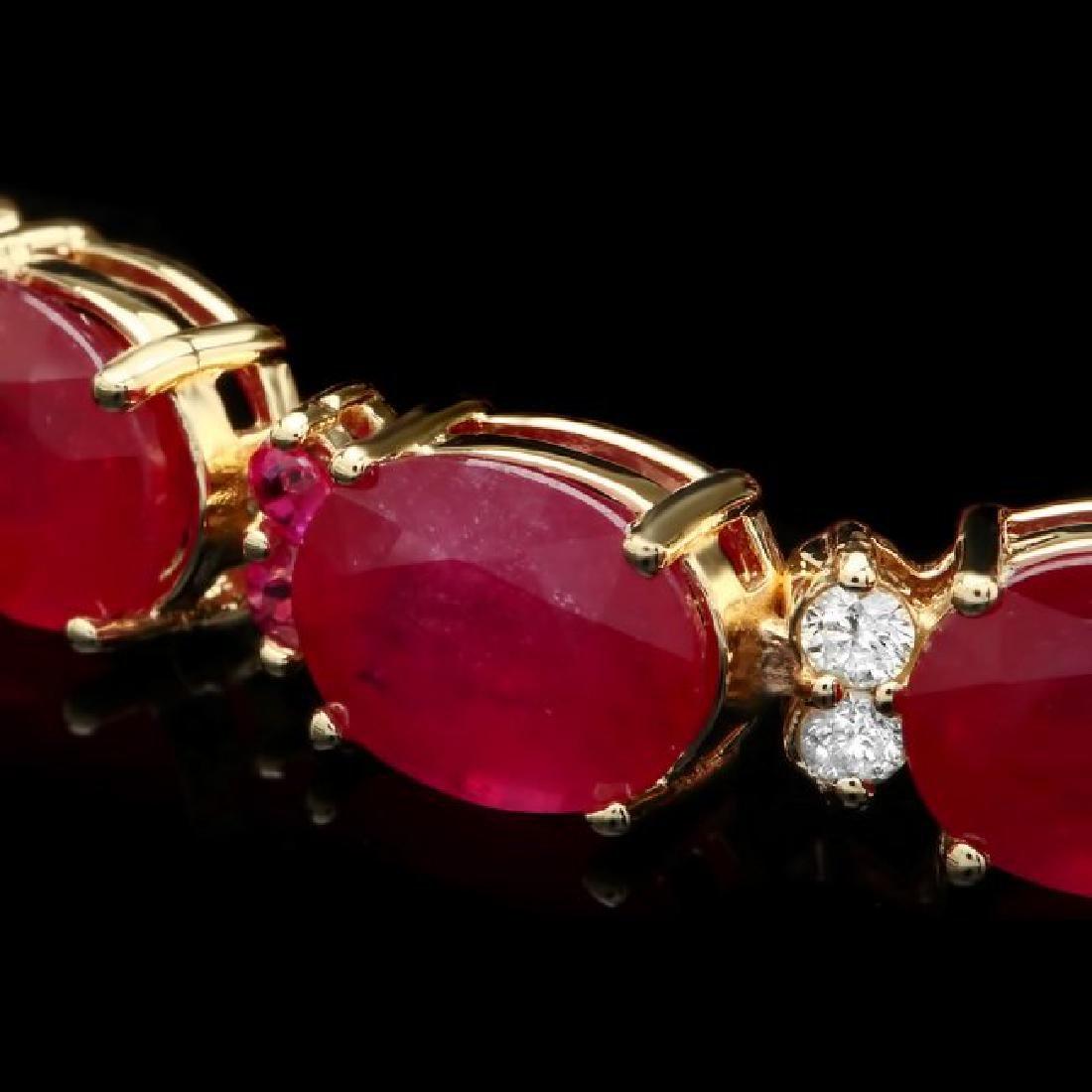 14k Gold 39.7ct Ruby 0.70ct Diamond Bracelet - 2