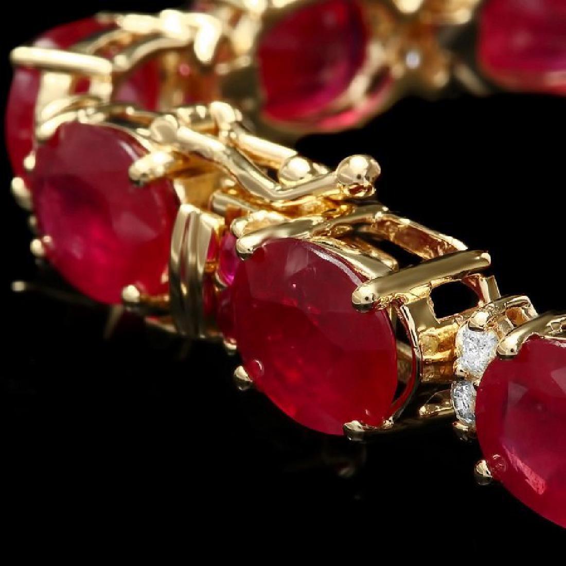 14k Gold 39.7ct Ruby 0.70ct Diamond Bracelet - 3