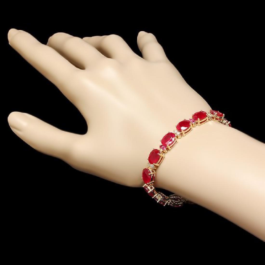 14k Gold 39.7ct Ruby 0.70ct Diamond Bracelet - 5
