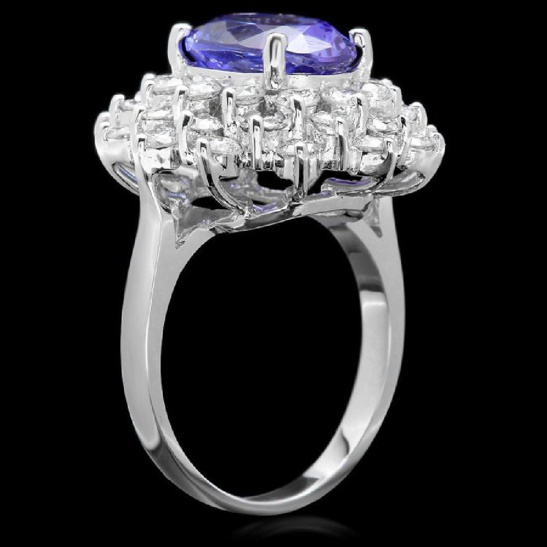 14k Gold 4.00ct Tanzanite 2.50ct Diamond Ring - 2