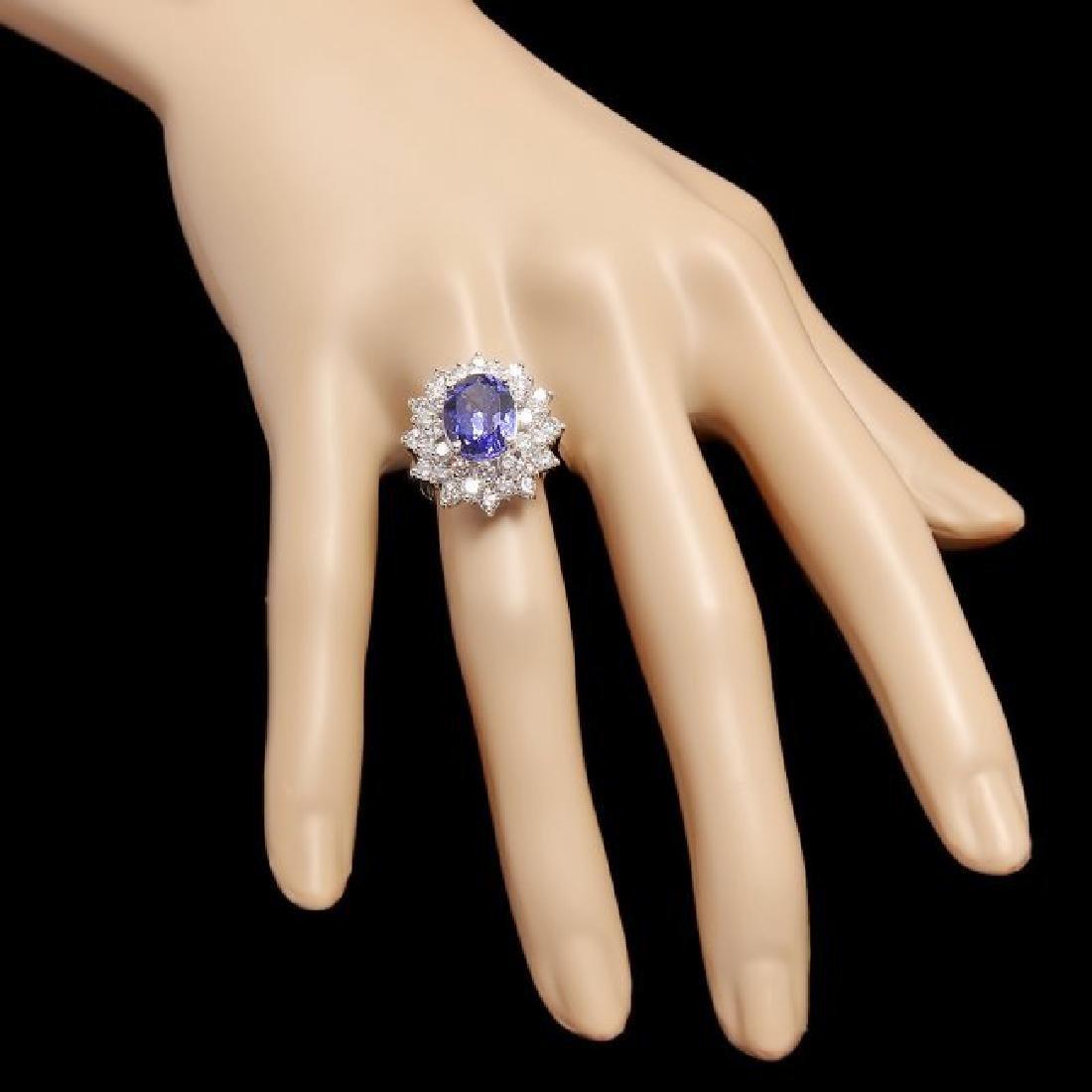 14k Gold 4.00ct Tanzanite 2.50ct Diamond Ring - 3