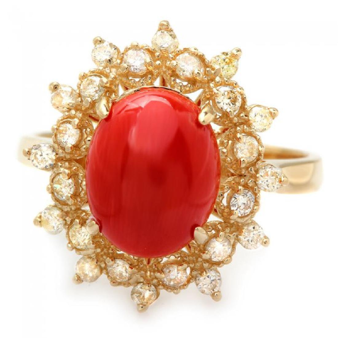 14k Yellow Gold 2.75ct Coral 0.50ct Diamond Ring - 2