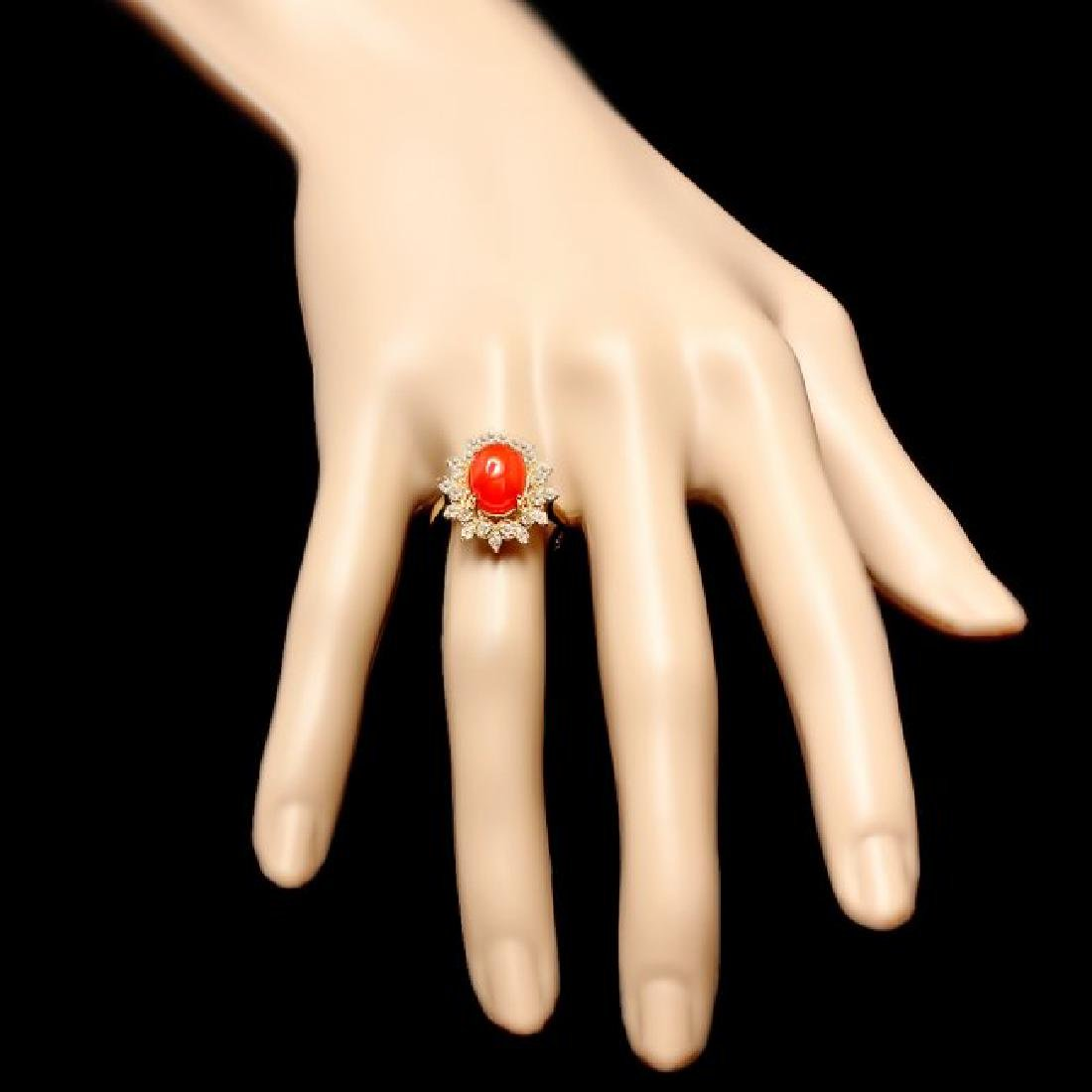 14k Yellow Gold 2.75ct Coral 0.50ct Diamond Ring - 4