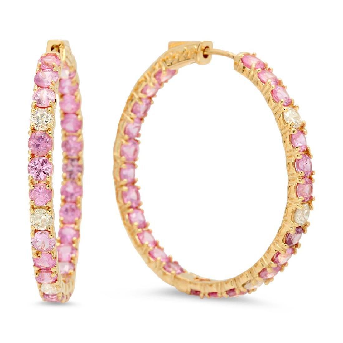 14K Gold 8.11ct Pink Sapphire 0.90cts Diamond Earrings