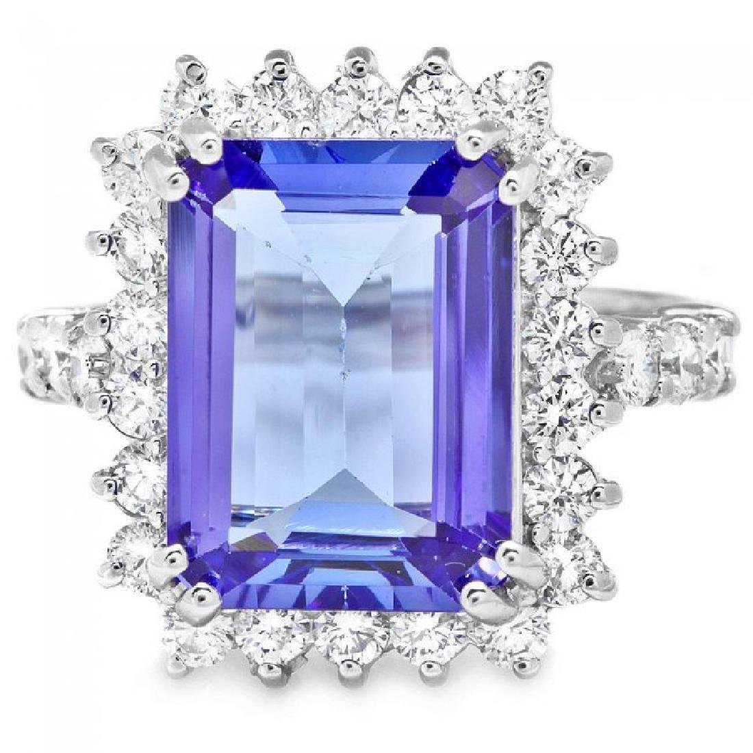 18k Gold 6.50ct Tanzanite 1.15ct Diamond Ring - 2