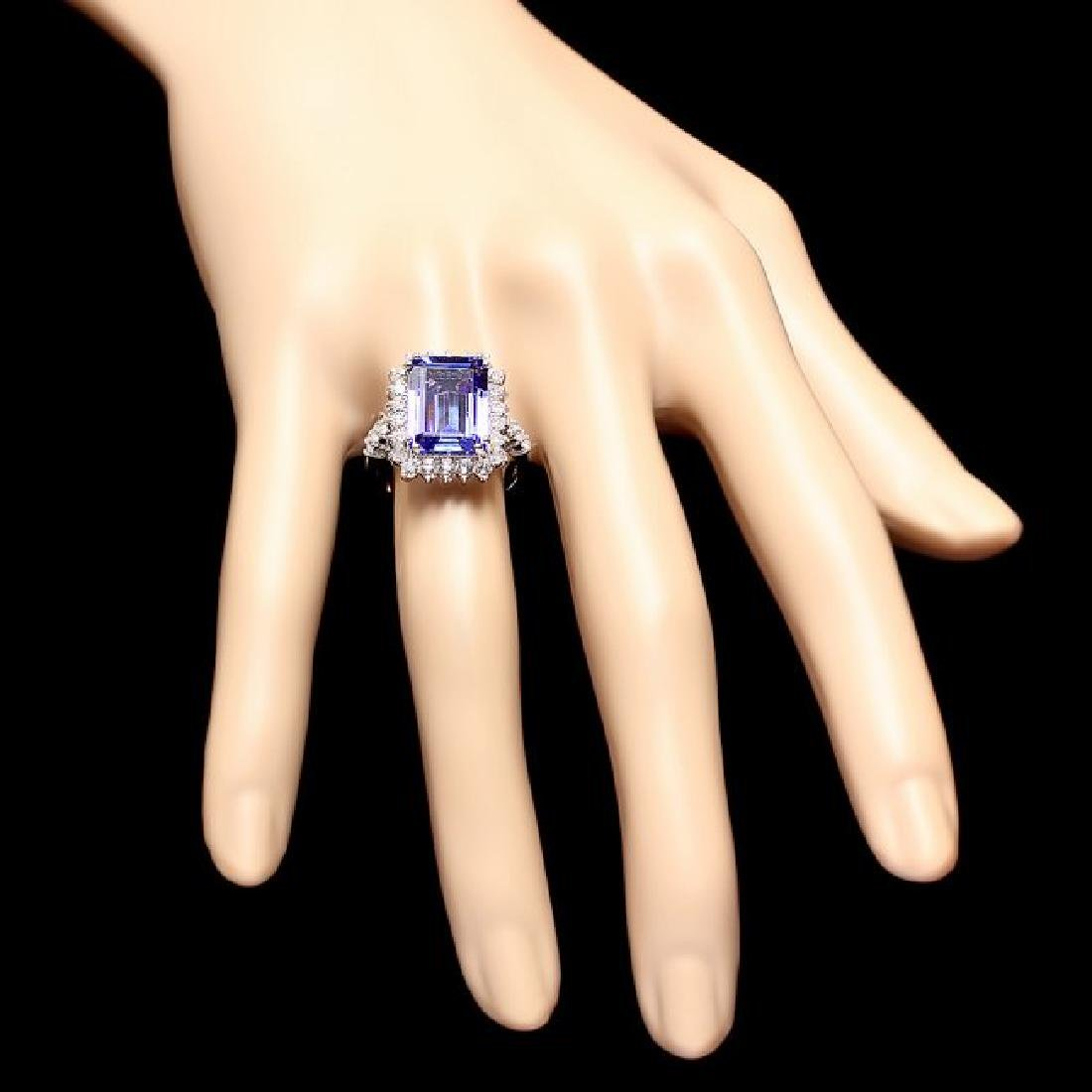 18k Gold 6.50ct Tanzanite 1.15ct Diamond Ring - 4