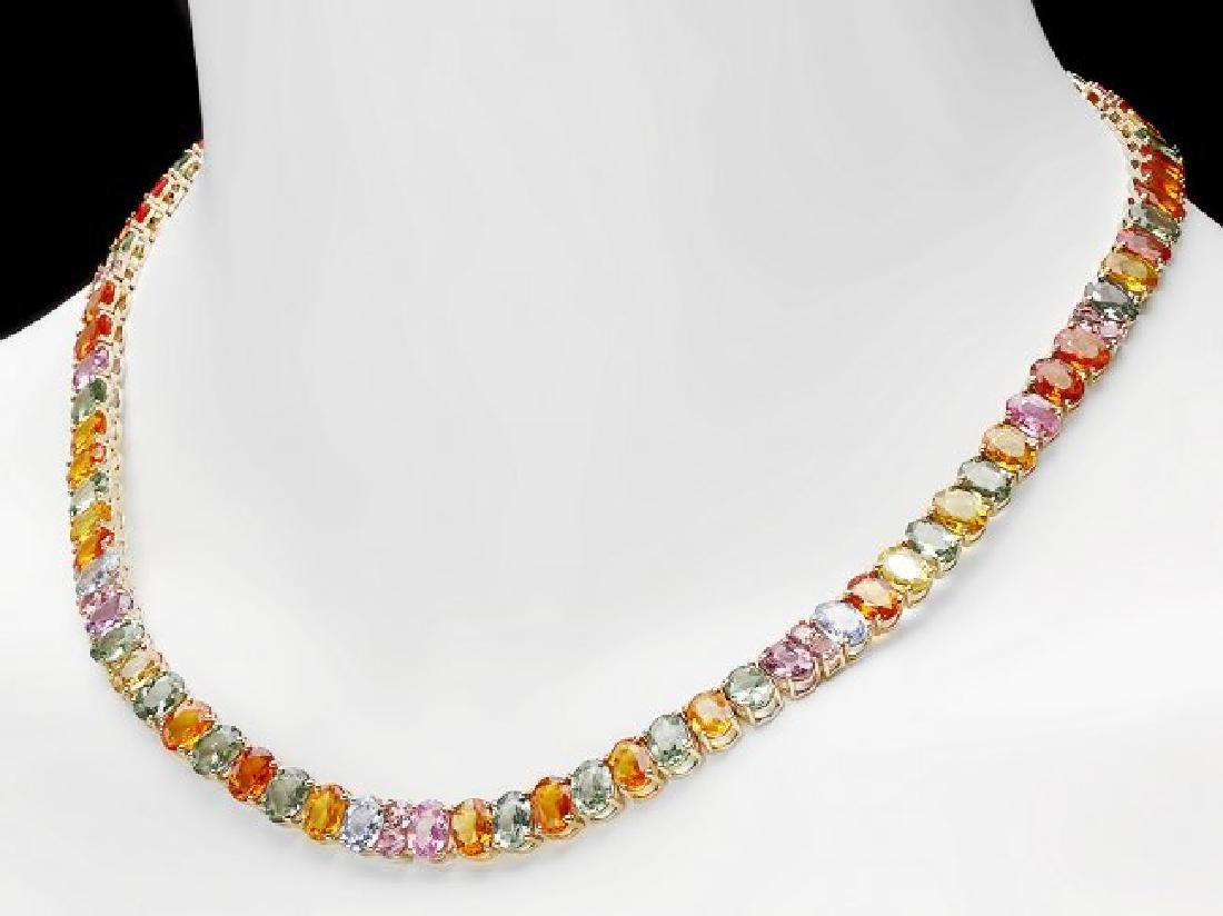 14k Yellow Gold 63ct Sapphire Necklace - 4