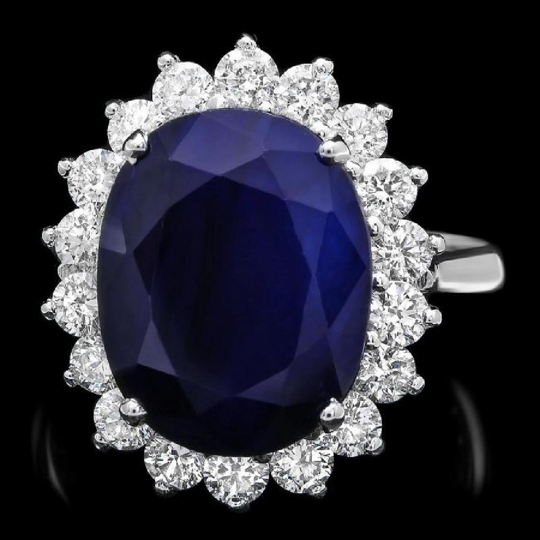 14k Gold 9.50ct Sapphire 1.20ct Diamond Ring