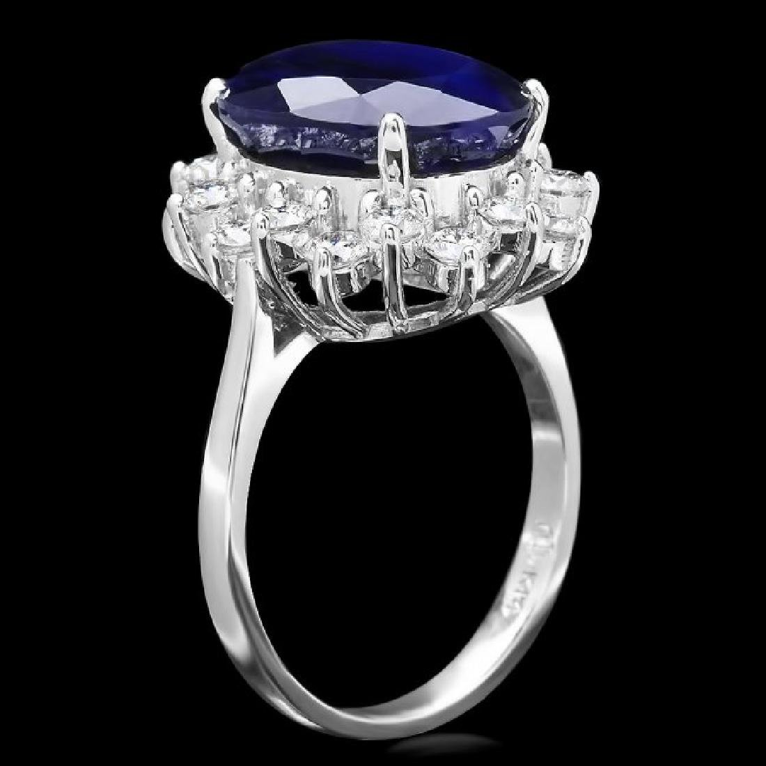 14k Gold 9.50ct Sapphire 1.20ct Diamond Ring - 2