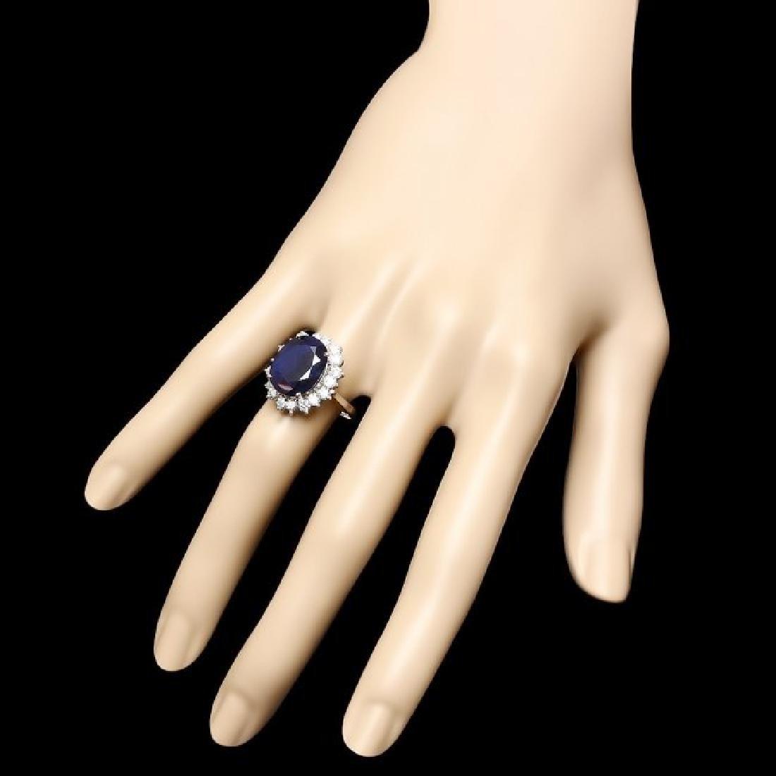 14k Gold 9.50ct Sapphire 1.20ct Diamond Ring - 3