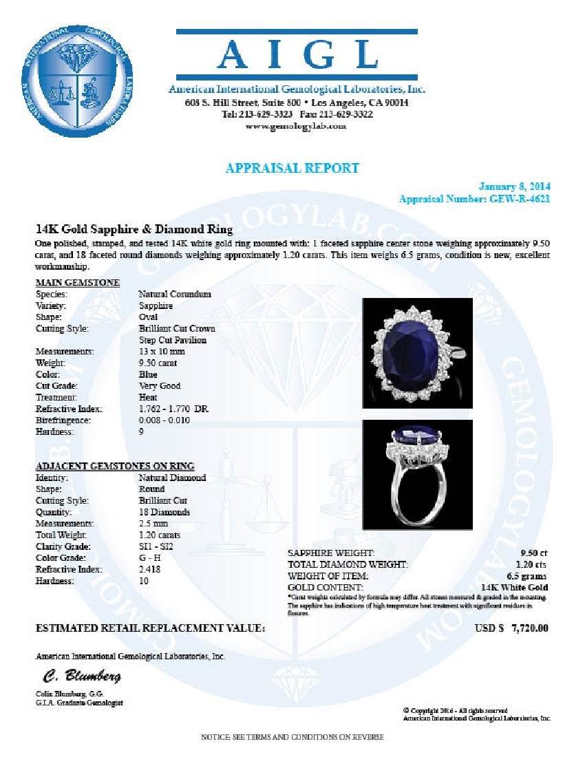 14k Gold 9.50ct Sapphire 1.20ct Diamond Ring - 4