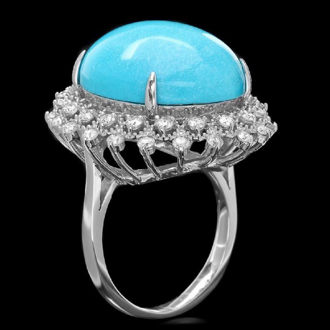 14k Gold 18.50ct Turquoise 1.00ct Diamond Ring - 2