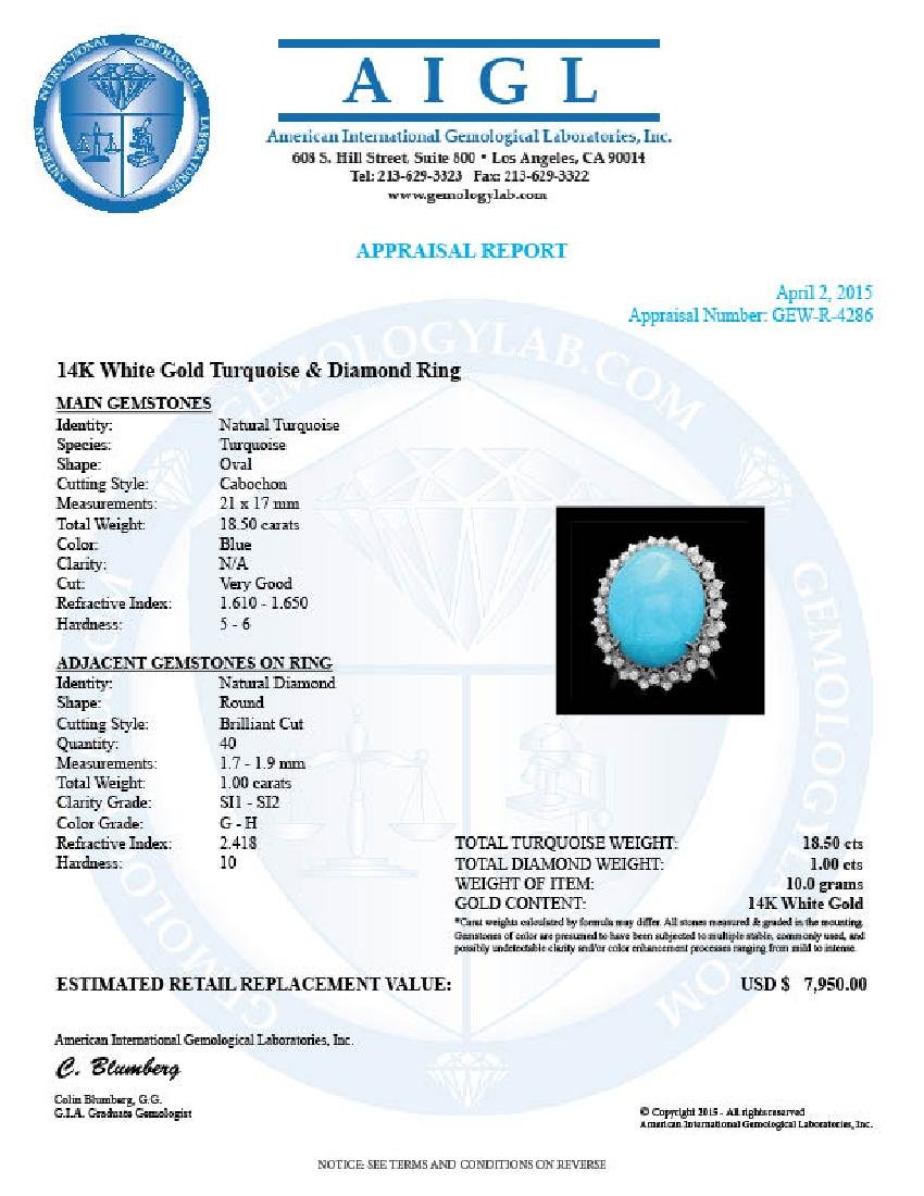 14k Gold 18.50ct Turquoise 1.00ct Diamond Ring - 4
