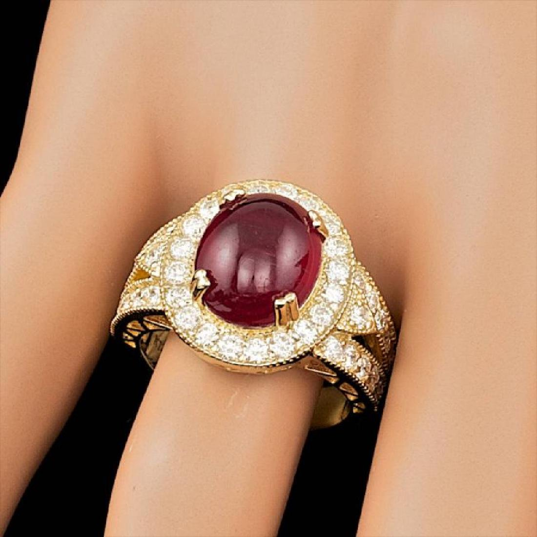 14k Yellow Gold 8.00ct Ruby 1.60ct Diamond Ring - 3