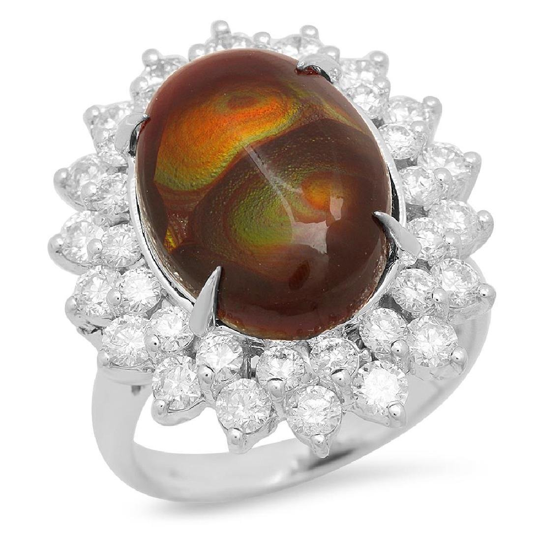 14K Gold 4.11ct Fire Agate 1.92cts Diamond Ring