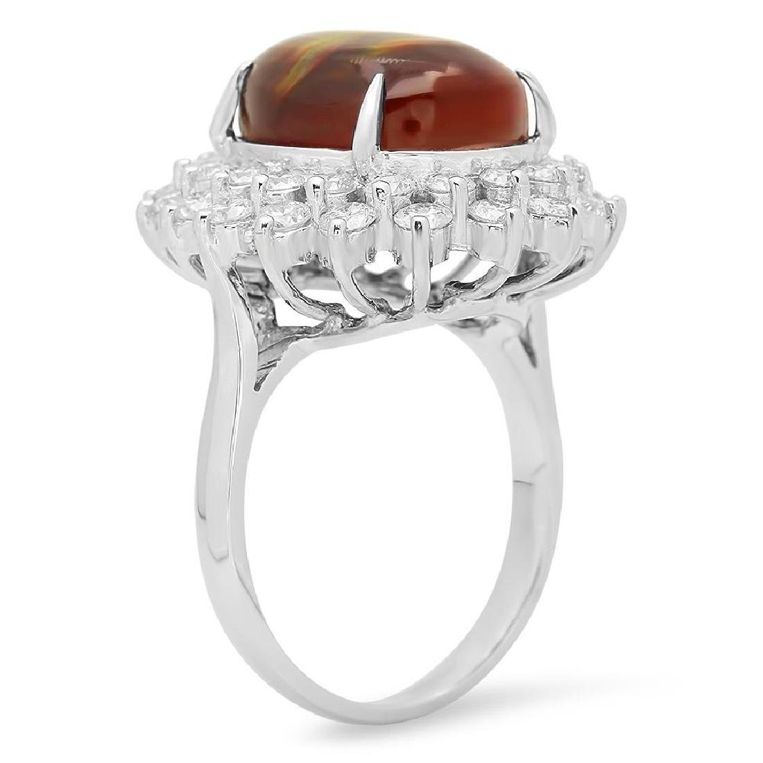 14K Gold 4.11ct Fire Agate 1.92cts Diamond Ring - 2