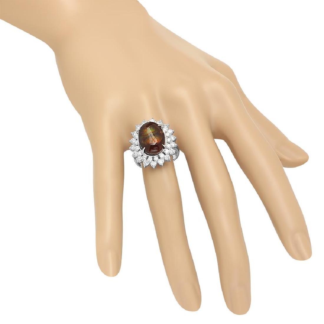 14K Gold 4.11ct Fire Agate 1.92cts Diamond Ring - 3