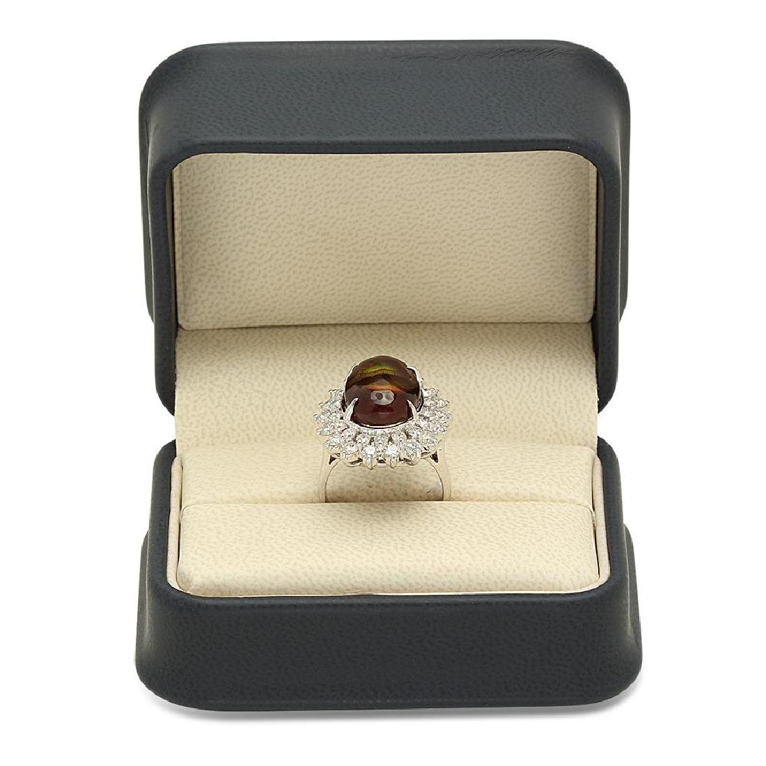 14K Gold 4.11ct Fire Agate 1.92cts Diamond Ring - 4
