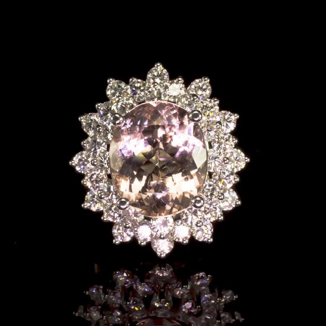 14K Gold 5.14ct Morganite 2.17ct Diamond Ring