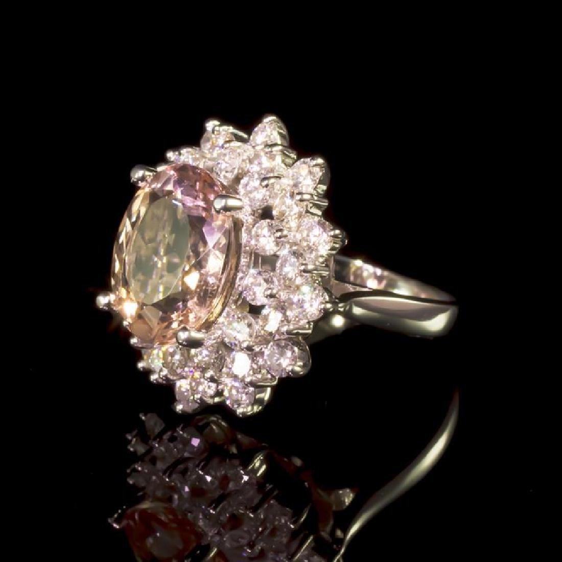 14K Gold 5.14ct Morganite 2.17ct Diamond Ring - 2