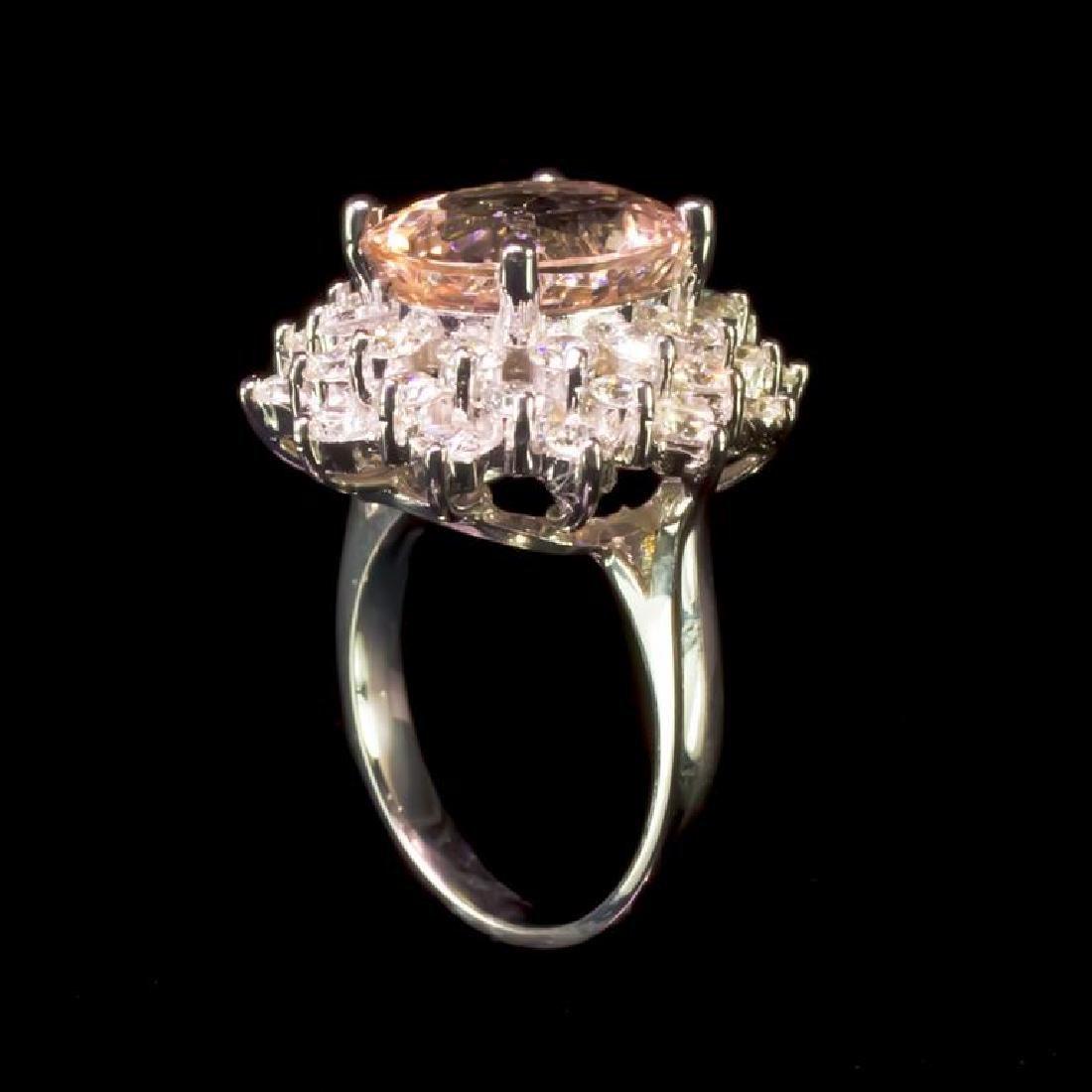 14K Gold 5.14ct Morganite 2.17ct Diamond Ring - 3