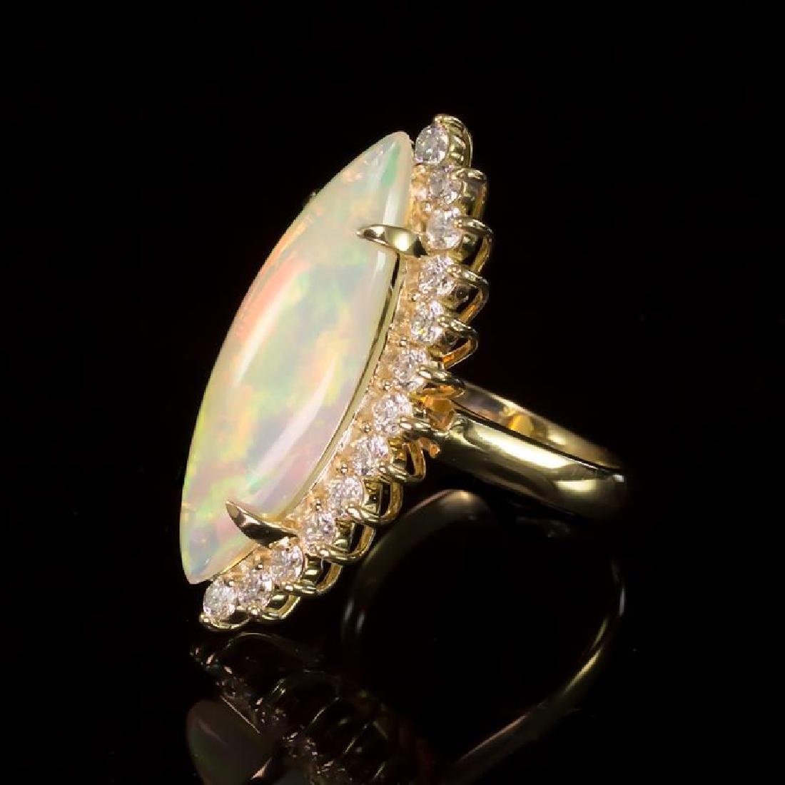 14K Gold 7.67ct Opal 1.95ct Diamond Ring - 2