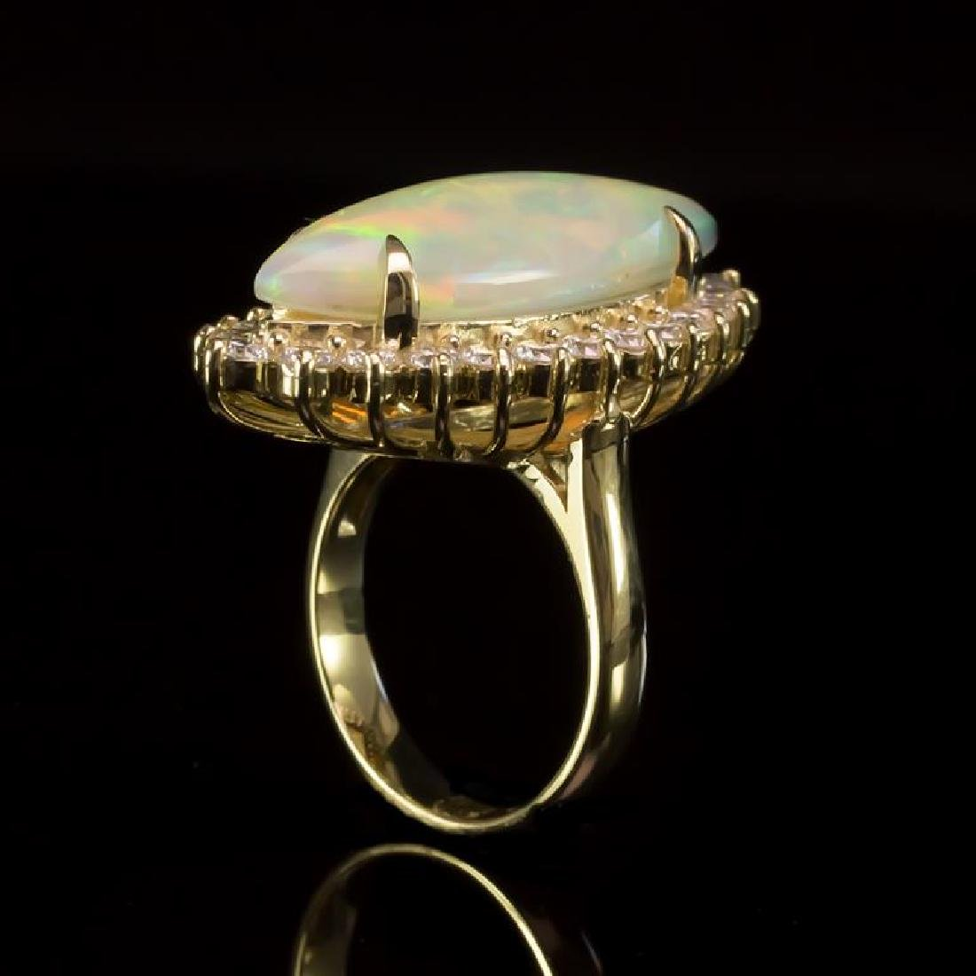 14K Gold 7.67ct Opal 1.95ct Diamond Ring - 3