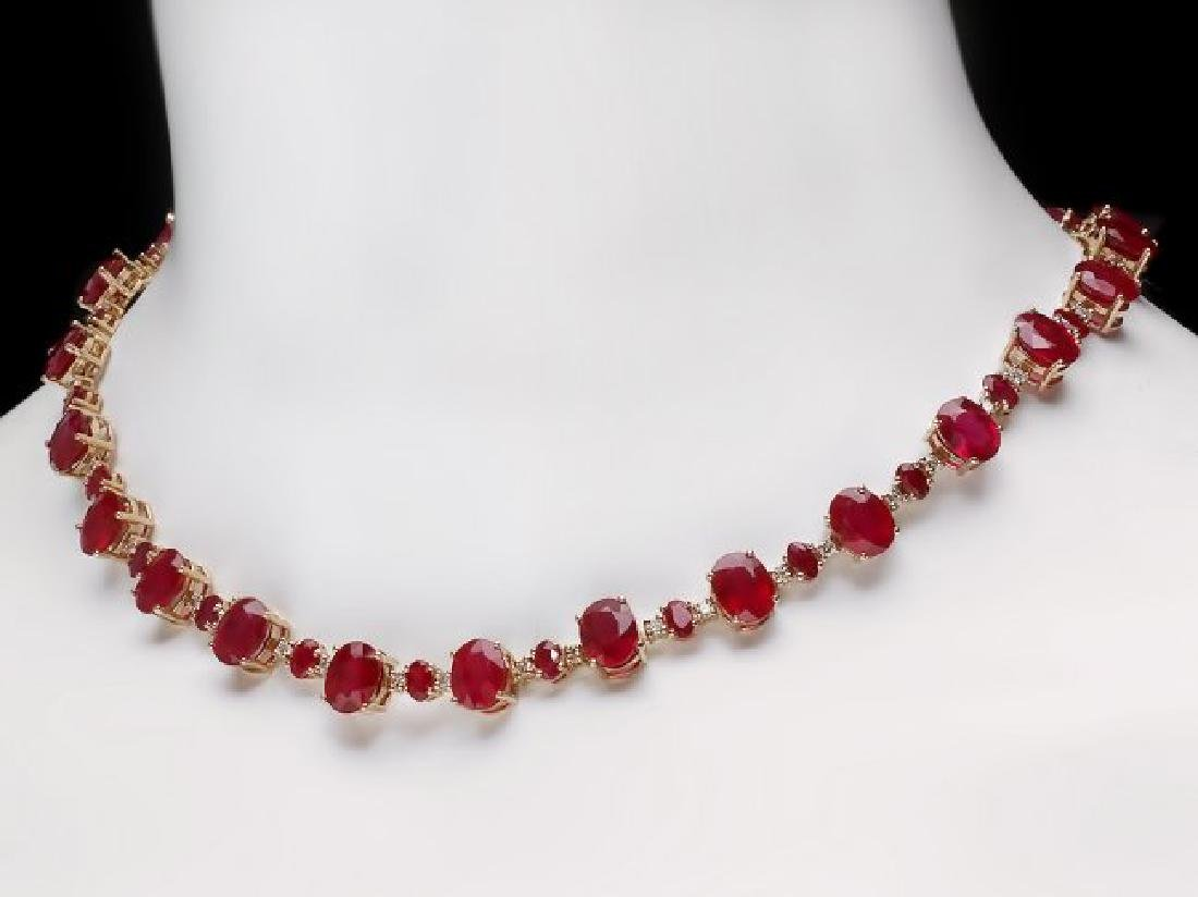 14k Gold 66.5ct Ruby 2.00ct Diamond Necklace - 5