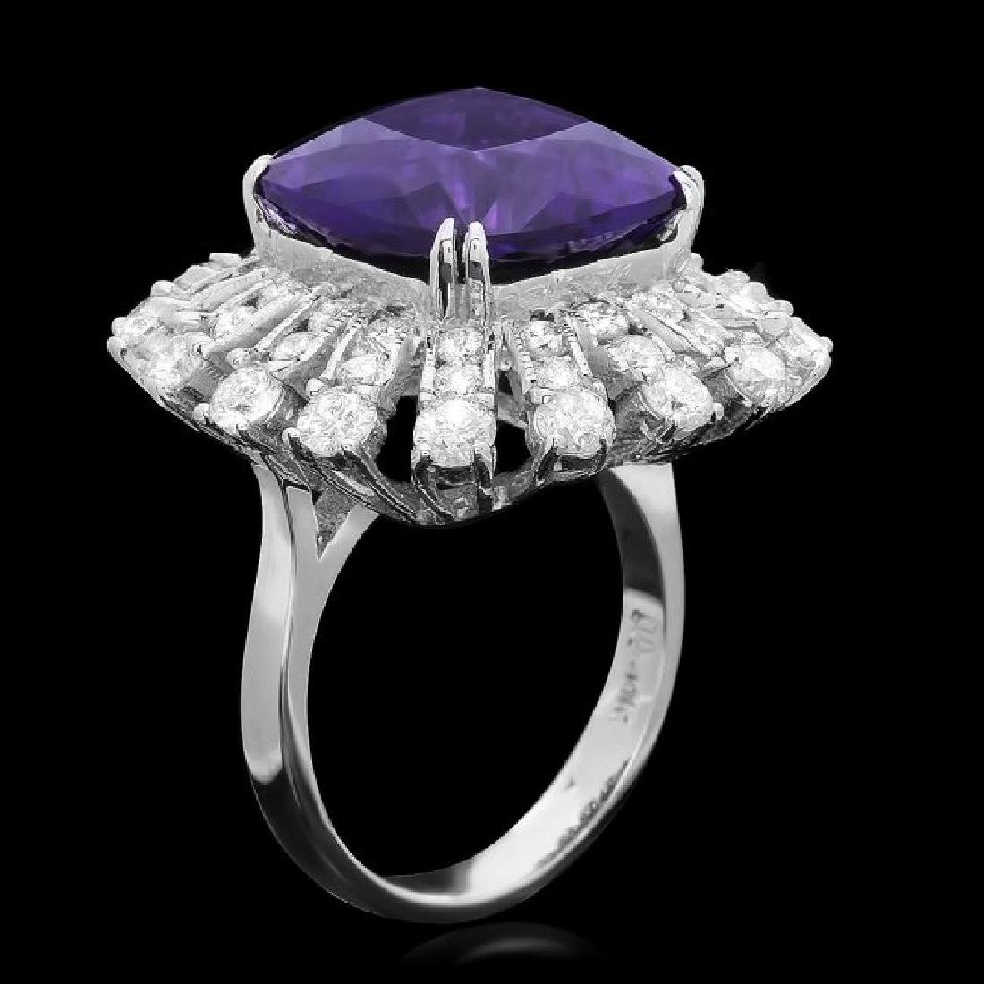 14k Gold 9.00ct Amethyst 3.85ct Diamond Ring - 2