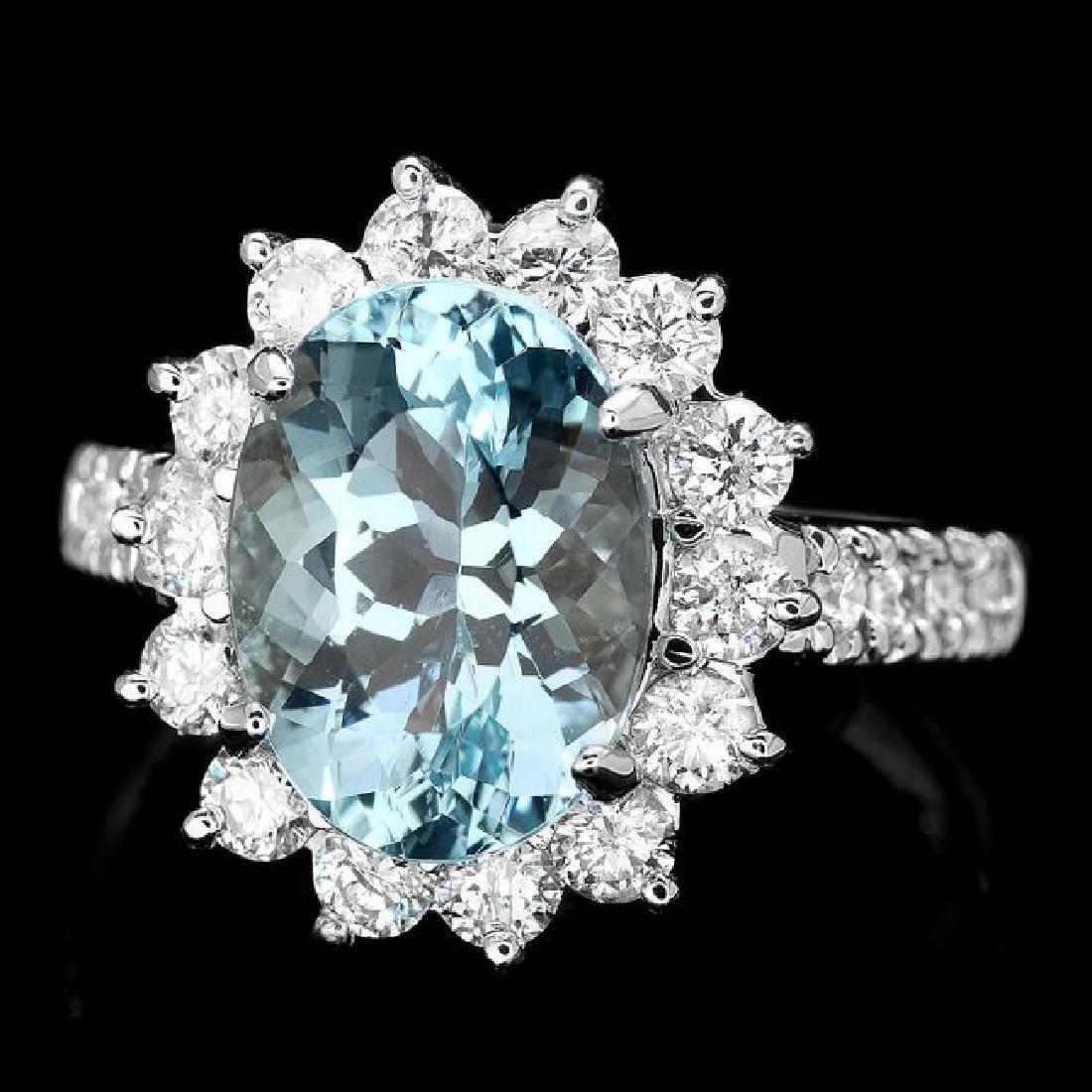 14k Gold 3.00ct Aquamarine 1.10ct Diamond Ring