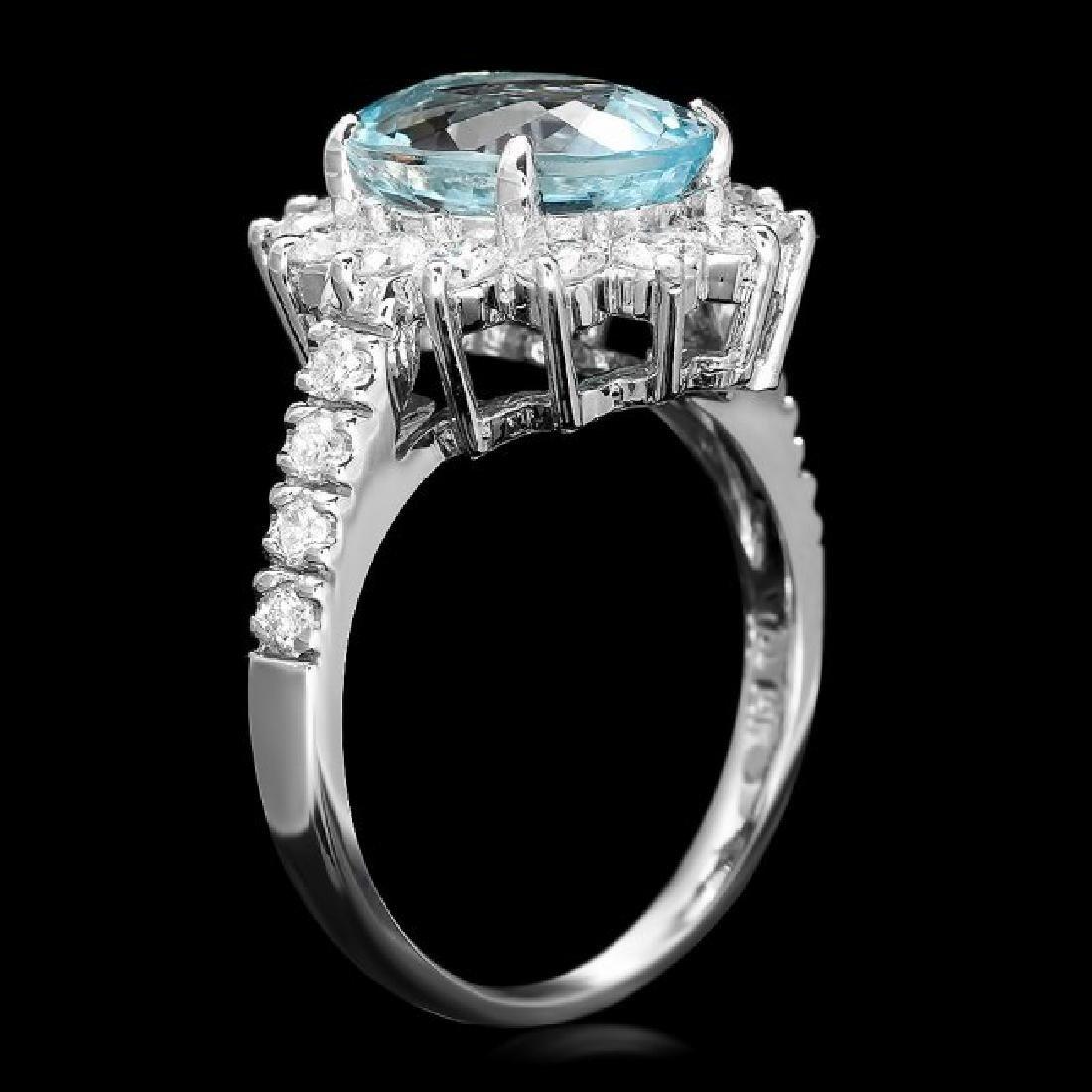 14k Gold 3.00ct Aquamarine 1.10ct Diamond Ring - 3