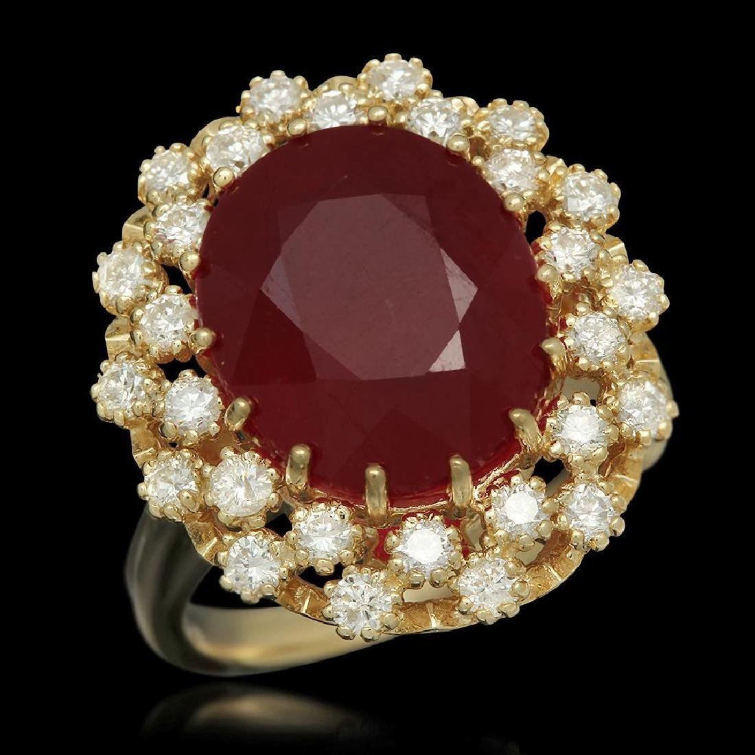 14K Gold 9.55ct Ruby 0.98ct Diamond Ring