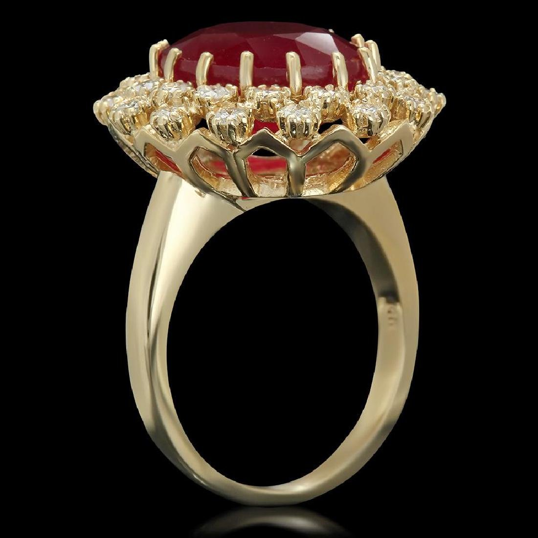 14K Gold 9.55ct Ruby 0.98ct Diamond Ring - 2